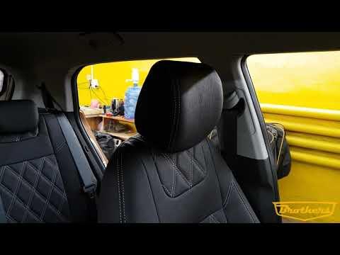 """Чехлы на Hyundai Creta, серии """"Aurora"""" с ромбами - серая строчка"""
