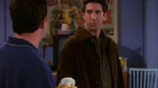 Chandler's best moment, cleaning without Monica's authorization to move things in the apartment!