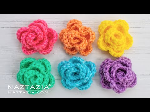 HOW to CROCHET ROSE FLOWER PATTERN Simple Easy Embellishment for a Hat Scarf Shawl Blanket Bag More