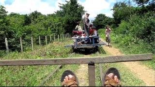 What Happens When Two Bamboo Trains Meet On The Bamboo Railway - It's Funny How They Deal With It