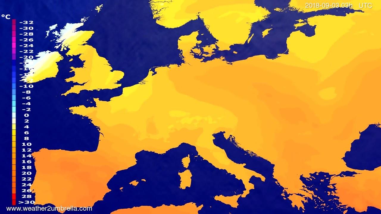 Temperature forecast Europe 2018-08-31