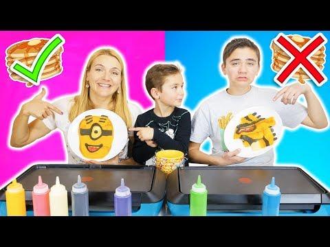 PANCAKE ART CHALLENGE 5 !!! - Mère VS Fils : Minions, Mario, Creeper... видео