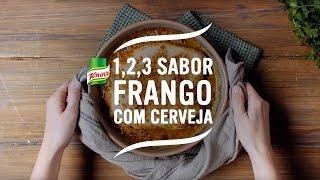 Tempere o frango com a cerveja e com o Tempero Knorr 1,2,3…Sabor a Frango com Cerveja.
