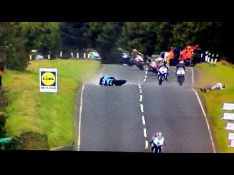 highside - Ulster GP 2014 - Bruce Anstey has a huge highside causing an instant red flag but his out of control bike eliminates several other bikes including Ian Huthin...