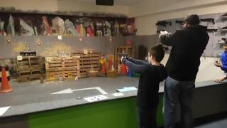 Me and my son Caelan shooting at star city Birmingham firing range. We used a co2 Glock airsoft pistol. These didn't have co2 canisters, they were filled via...