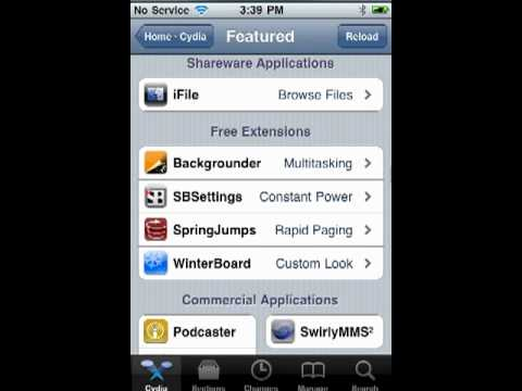 Featured jailbreak apps in the Cydia store