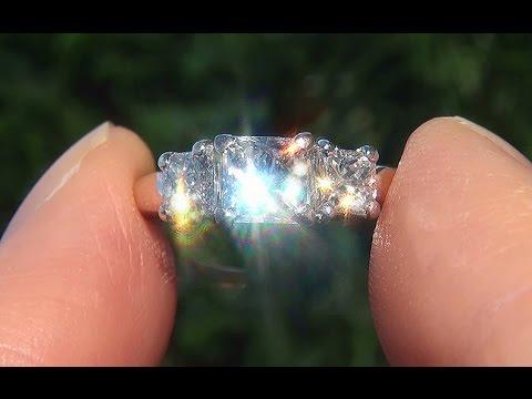 Natural VS1/G Princess 3 Stone Diamond Engagement Anniversary 18k Platinum Ring - C699