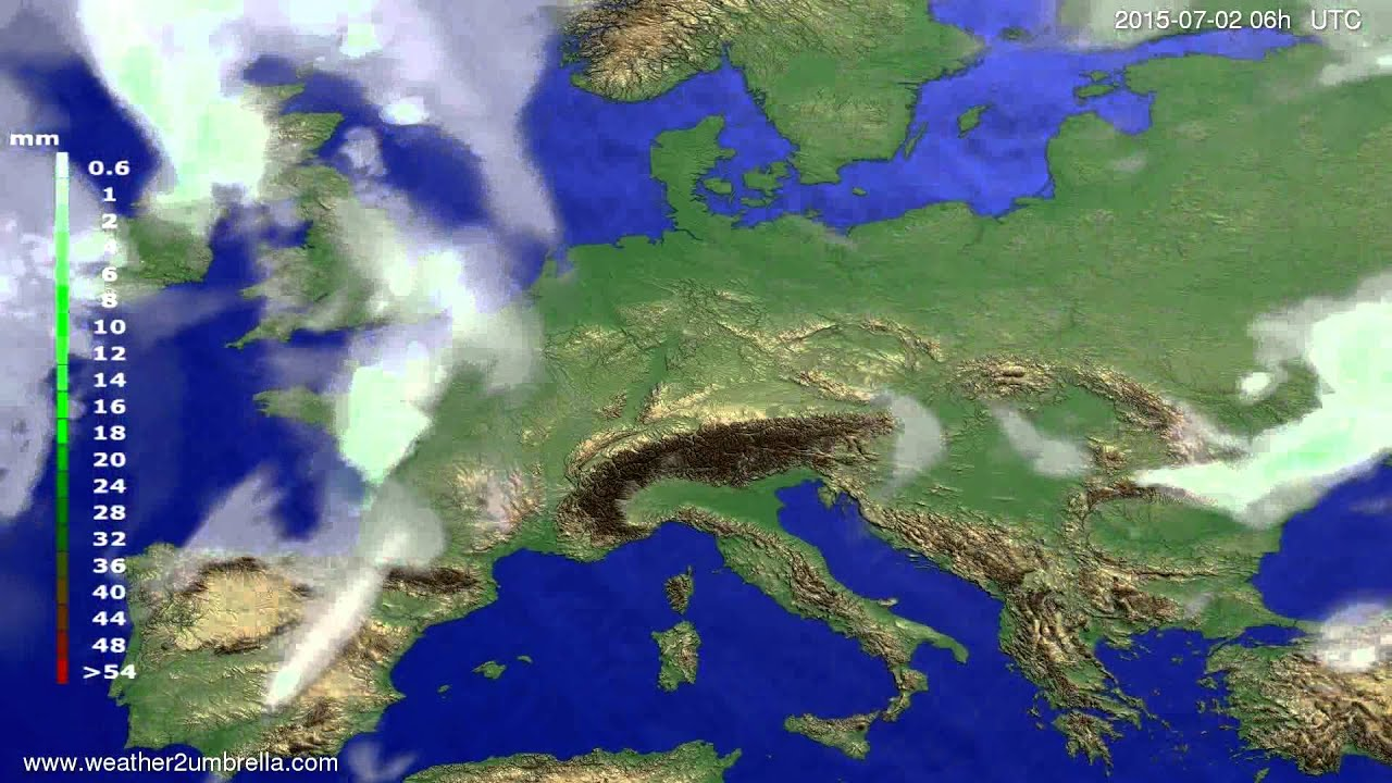 Precipitation forecast Europe 2015-06-28