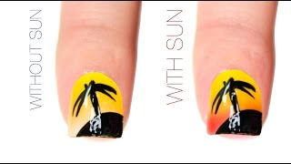 Tropical Beach Color-Changing Nail Art Design