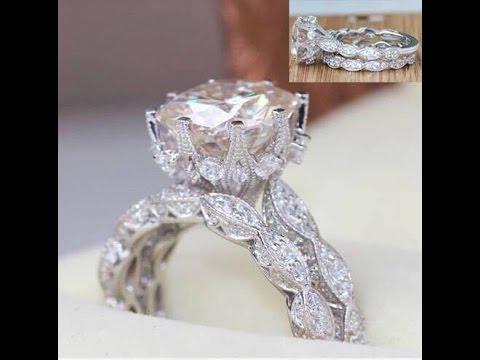 Ladies sterling silver vintage halo wedding ring set
