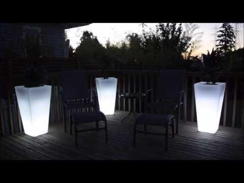 LED Light up flower pot - Tall garden glow planter -100% waterproof illuminated flower pots