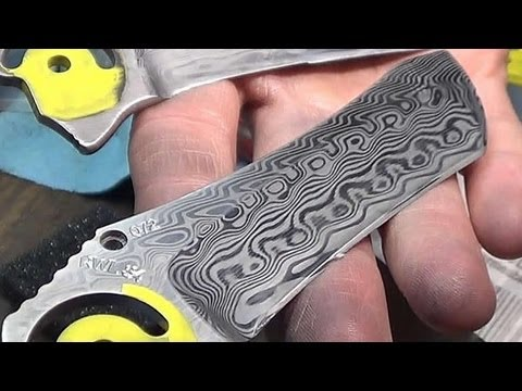 blades - For this webisode we are etching 3 damascus knife blades and 4 clips. These are made from Swedish Damasteel, a very high quality steel that I really enjoy wo...