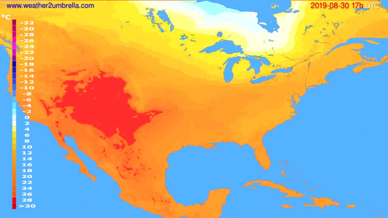 Temperature forecast USA & Canada // modelrun: 00h UTC 2019-08-29