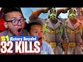 32 KILLS! WHOLE SQUAD FULL OF SQUEAKERS! *NEW* SKIN IS INSANE! 9 YEAR OLD BROTHER 🔥 FORTNITE BR!