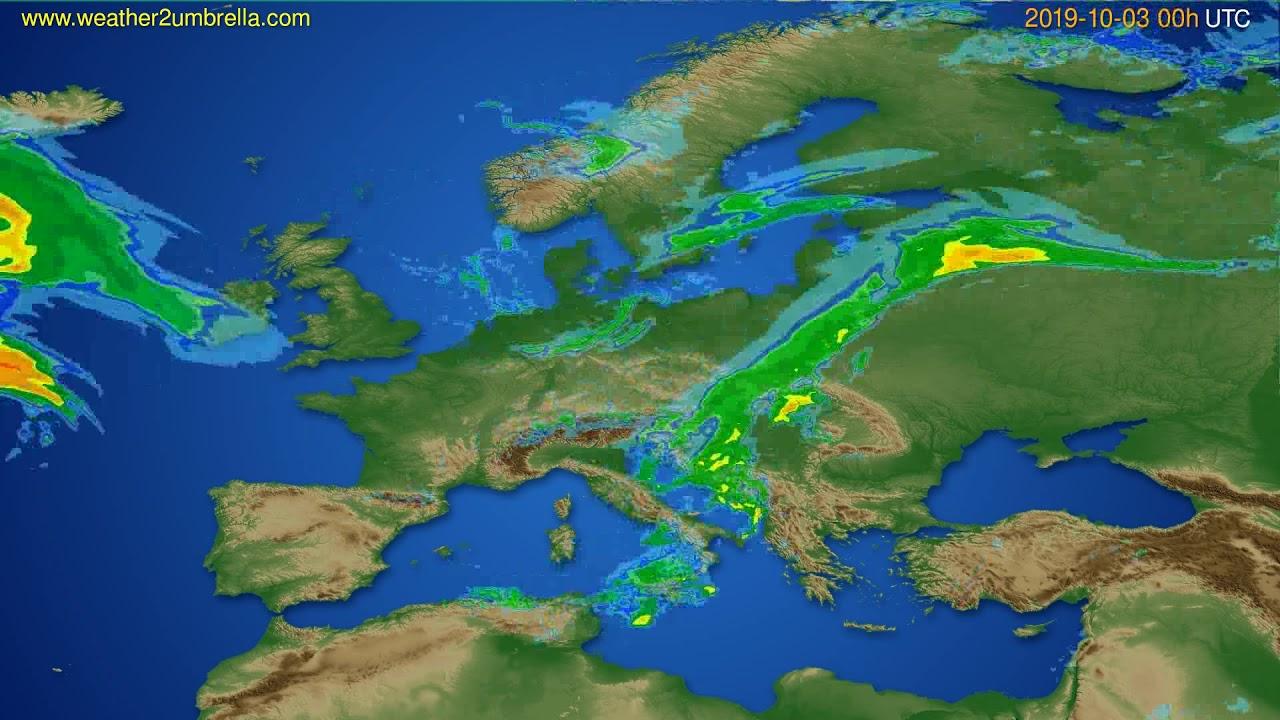 Radar forecast Europe // modelrun: 12h UTC 2019-10-02