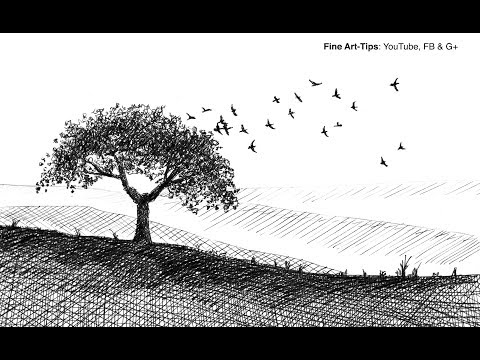 How To Draw A Tree And Birds With Fountain Pen - Super Easy - Narrated
