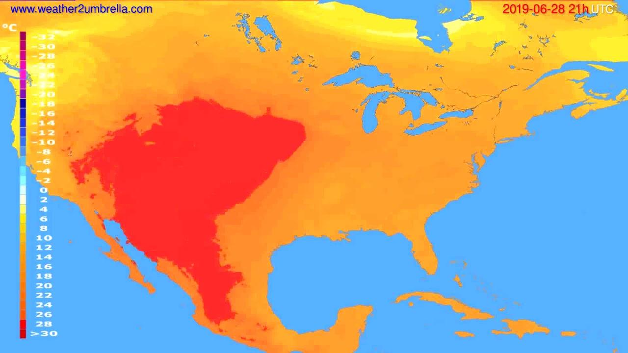Temperature forecast USA & Canada // modelrun: 00h UTC 2019-06-27