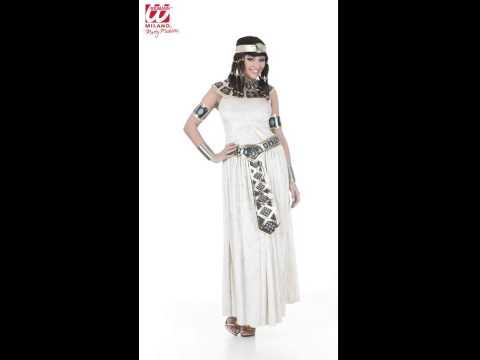 Déguisement d'impératrice égyptienne avec robe, collier, ceinture et bijoux de bras