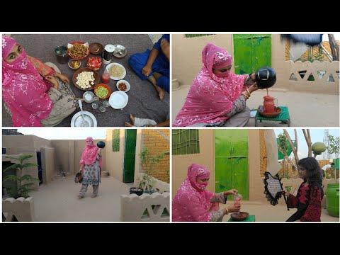2020 Iftar Routine, village iftar routine, watermelon fruit juice prepared in my village, Pakora etc