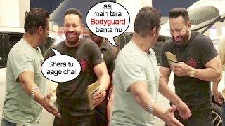 Video Salman Khan Makes FUN Of His Bodyguard Shera Publicly At Mumbai Airport MP3, 3GP, MP4, WEBM, AVI, FLV Agustus 2018