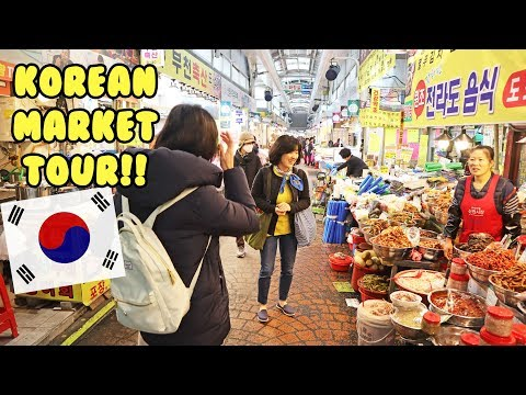 LOCAL KOREAN MARKET FOOD TOUR!! (w/ SOBAAN COOKING IN PART 2)