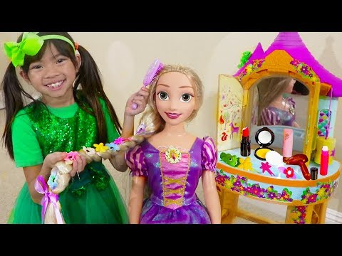Emma Pretend Play w BIG Rapunzel Doll  Kids Make Up Hair Salon Toys