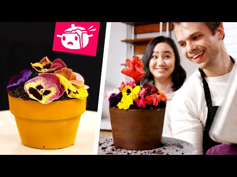 We Tried To Re-Create This Flower Pot Cake • Eating Your Feed • Tasty