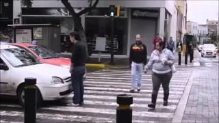 Car Stops Over the Crosswalk, Pedestrian Takes Action