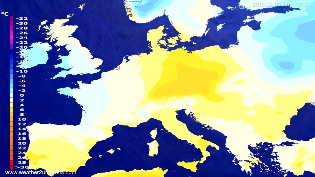 Temperature forecast Europe 2017-01-30