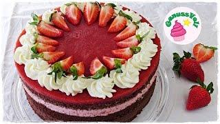Rezept für eine Erdbeer-Schokoladen-Torte  Erdbeertorte mit Schokolade  Schokoladentorte mit ErdbeerenFolgt mir doch auch auf folgenden Plattformen. Ihr könnt mir darüber auch sehr gern Bilder von Euren Werken schicken :)FACEBOOK: https://www.facebook.com/GenussVoll88INSTAGRAM: https://www.instagram.com/genussvoll_yt/In diesem Video zeige ich Euch ein sehr leckeres Rezept für eine schokoladige Erdbertorte. Sie ist relativ einfach zu machen und schmeckt einfach wunderbar. Eine tolle Kombi aus Erdbeeren und SchokoladeZutaten für eine 24-26cm Springform:für den Teig:150g Butter150g Zartbitterschokolade125g Zucker1 EL (oder ein Päckchen) Vanillezucker6 Eier130g Mehl20g Kakaopulver2 TL Backpulvereine Prise SalzGebacken wird der Teig bei 170°C Ober- und Unterhitze für ca. 45 Minutenfür die Schokoladencreme:300g Sahne1 EL Zucker175g Zartbitterkuvertürefür die Erdbeerfüllung:250g Erdbeeren (zum pürieren)120g Erdbeeren (zum Würfeln)40g ZuckerSaft einer halben Zitrone4 Blatt Gelatine250g Sahnefür den Erdbeerfruchtspiegel:300g Erdbeeren50g Zucker1 EL Zitronensaft3 Blatt Gelatinezum Dekorieren:150g Sahne (optional noch etwas Sahnesteif oder San Apart, braucht man aber eigentlich nicht)ErbeerenAnmerkung: ihr könnt statt Gelatine in diesem Rezept auch Agartine verwenden. Achtet auf die entsprechende Menge und haltet Euch an die Zubereitungsanleitung auf der Verpackung, da Agartine etwas anders zubereitet wird als Gelatine.Ich wünsche Euch ganz viel Spaß beim Nachmachen und gutes Gelingen :) Lasst mir gern Feedback da!Eure AnnikaDas gezeigte Bildmaterial wurde ausschließlich von mir aufgenommen, daher besitze ich das volle Eigentumsrecht.Die Hintergrundmusik ist Gemafreie Musik zur freien Verwendung freigegeben.Music from Epidemic Sound (http://www.epidemicsound.com)__Meine BackutensilienRührmaschine: http://amzn.to/2btkk83 (ich habe das Vorgängermodell und bin sehr zufrieden!) *Handrührgerät: http://amzn.to/2cYnosL *Springform 26cm: http://amzn.to/2bC6XWb *Springform 18cm: http:/