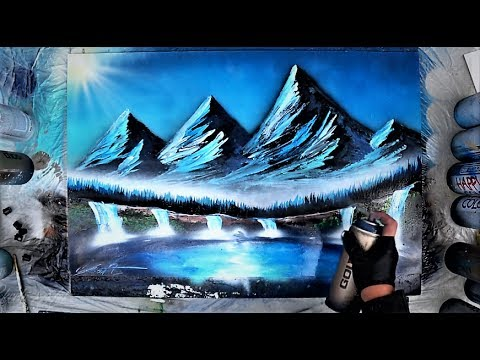 How to make MOUNTAINS - Spray paint art tutorial by Skech (видео)