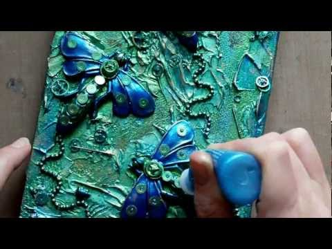 video art - A timelapse video showing the creation of a canvas using mixed media art materials including polymer clay, moulds by After midnight, Acrylics, & Steampunk Cl...