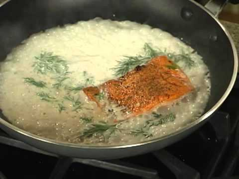 Salmon With Champagne Cream Dill Sauce