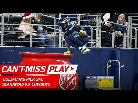 Video: Coleman Gets Pick 6 & Hops in Salvation Army Bucket to Celebrate! | Can't-Miss Play | NFL Wk 16