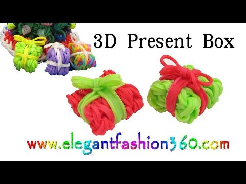 Rainbow Loom Present Box 3D Charms – How to Loom Bands Tutorial