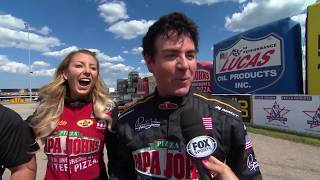 Leah Pritchett and Papa Johns Pizza's John Schnatter faced off in a charity match race to benefit the Infinite Hero Foundation in Chicago. Find out who took home the win! #PizzaFamily #Leah30 Facebook: https://www.facebook.com/NHRATwitter: @NHRA: https://twitter.com/NHRA Instagram: @NHRA: http://instagram.com/nhraSnapchat: @NHRATumblr: @NHRAOfficialNHRA ALL ACCESS Live Stream: http://bit.ly/nhraallaccess