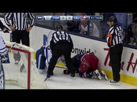 Video: Foligno takes worst of crash into boards with Komarov