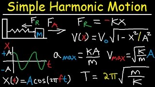 Simple Harmonic Motion, Mass Spring System - Amplitude, Frequency, Velocity - Physics Problems