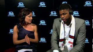 /Amir Johnson discusses the Raptors 20th Anniversary Jersey at Players' Gala presented by BlackBerry