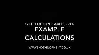 17th Edition Cable Sizer YouTube video