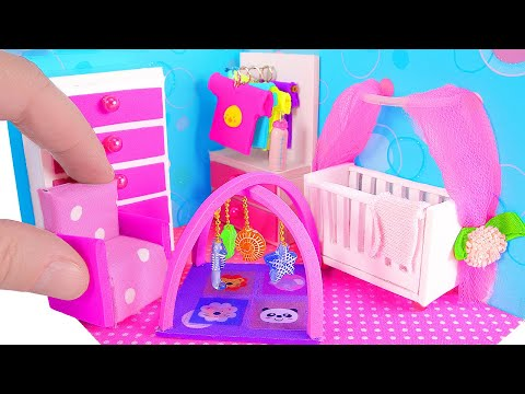DIY Miniature Nursery Room / Baby Room, Crib, Baby Bottle (видео)