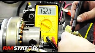 10. Testing three phase alternator stator, regulator rectifier charging system.