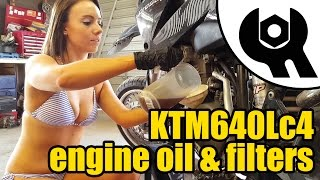 4. #1829 - 2006 KTM 640 Lc4 engine oil & filters replacement (H)