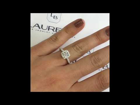 0.76 ct Cushion Diamond Halo Engagement Ring