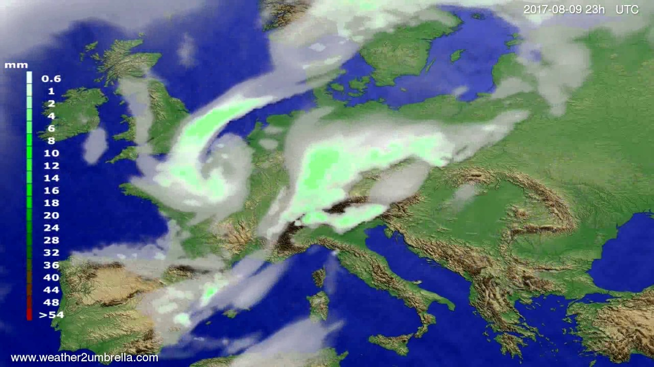 Precipitation forecast Europe 2017-08-06
