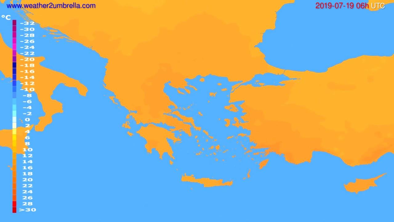 Temperature forecast Greece // modelrun: 12h UTC 2019-07-16