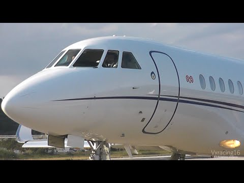 PRIVATE JET! Dassault Falcon 900LX Landing & Takeoff at Skiathos Airport - July 2014 - Waving Pilots