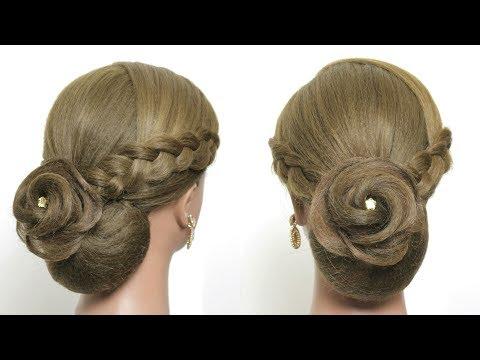 Hairstyles for long hair - Elegant Flower Bun Hairstyle For Long Hair Tutorial. Wedding Updo