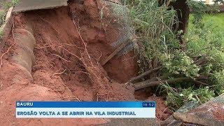 Erosão engole calçada na Vila Industrial, em Bauru