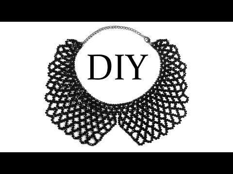 DIY: How to make beaded necklace (collar) / Как сплести воротник из бисера (бусин)